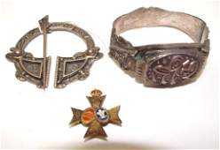 Scottish sterling pin, French sterling bangle, and
