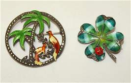Sterling silver lot fo 2 enameled brooch pins