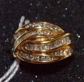 14 kt yg ladies diamond ring with 56 diamonds, size 8
