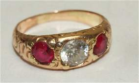 10kt yg gents ruby  diamond ring 53g