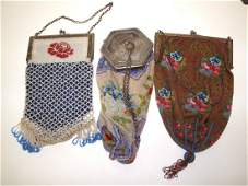 Lot of 3 ladies beaded handbags, one with sterling