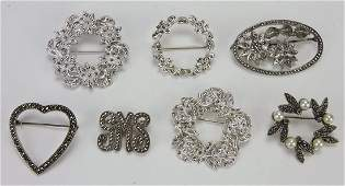 Sterling silver & marcasite lot of 7 brooch pins