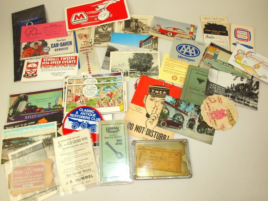 Lot of auto & petroleum ephemera: post cards, and