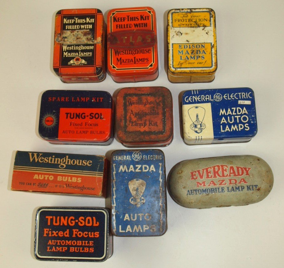 Lot of 10 Auto Lamp advertising tins & boxes: GE,