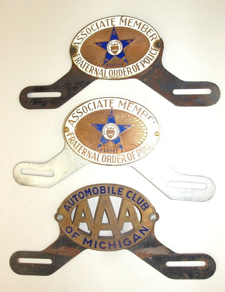 Lot of 3 license plate toppers: 2-FOP, & 1-AAA