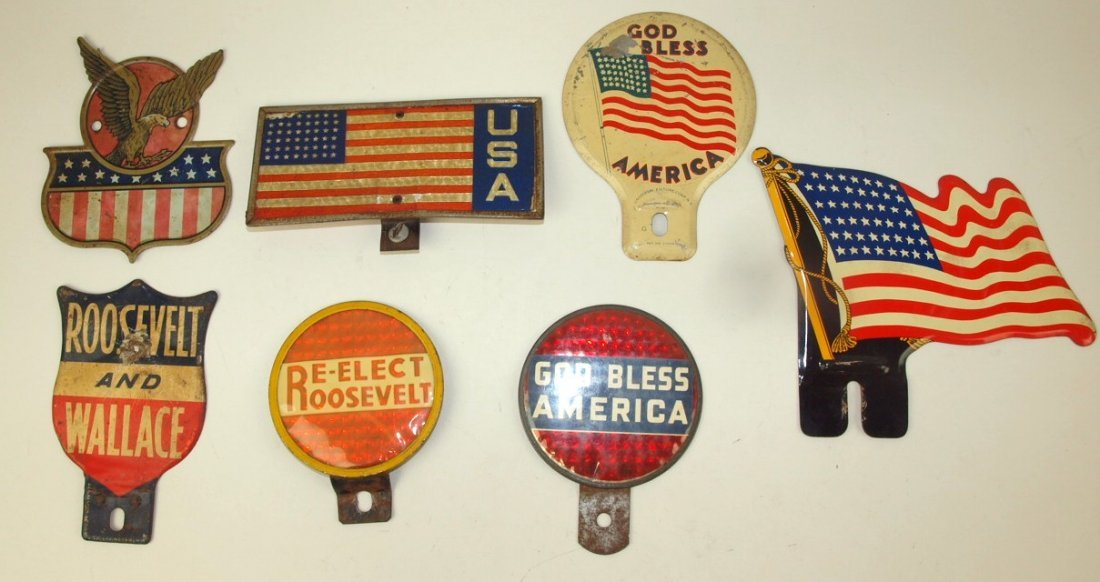 Lot of 7 political & patriotic license plate toppers