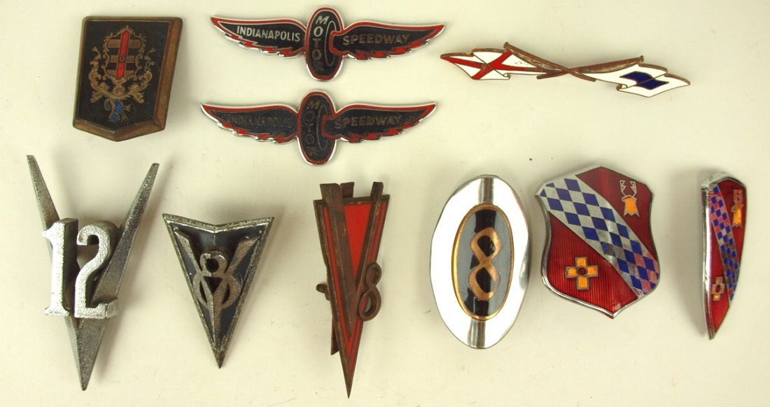 Lot of 10 auto badges & emblems: Indianapolis Motor