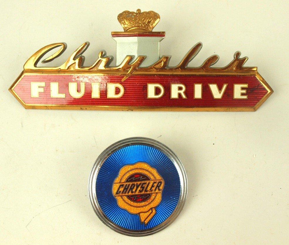 Chrysler lot of 2 auto radiator badges