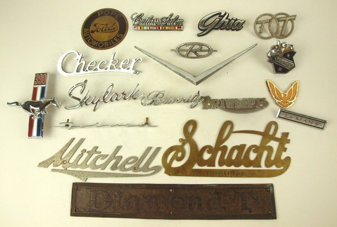 Lot of 17 auto radiator badges & emblems: Ford Pope