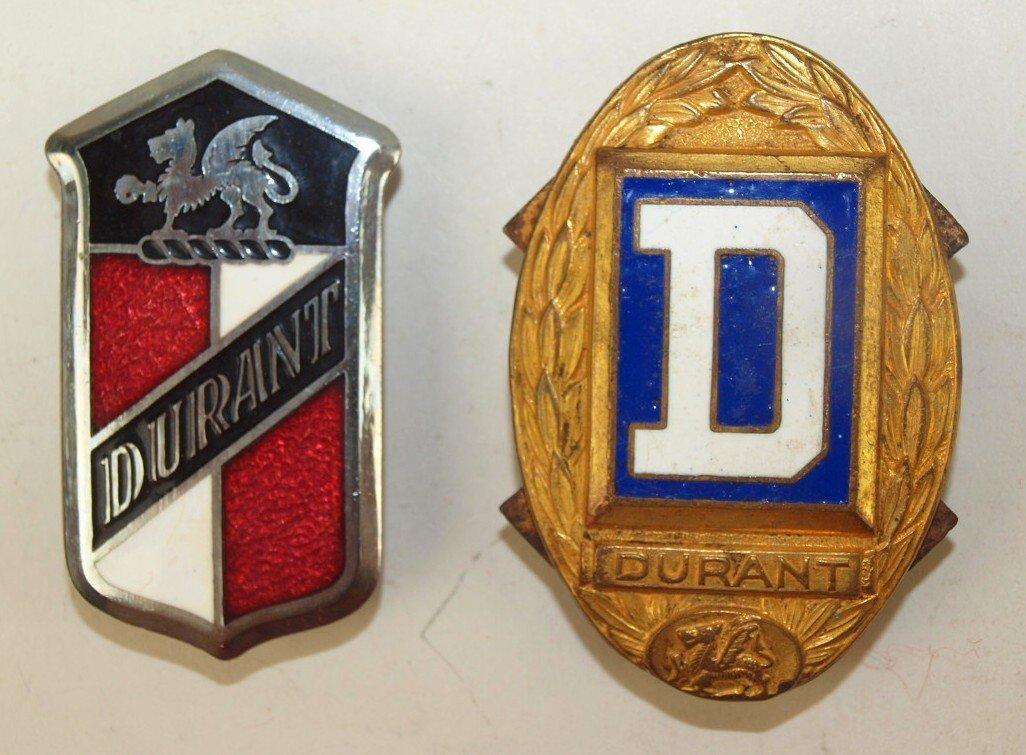 Durant lot of 2 enameled badge emblem