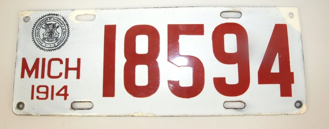 1914 Michigan porcelain license plate, some repair