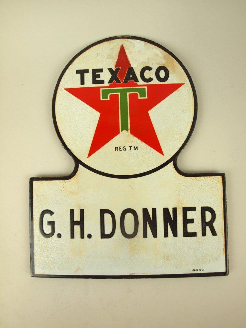 "Porcelain advertising single sided sign: ""Texaco G.H."