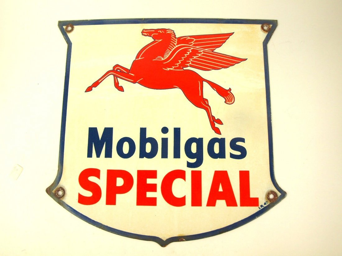 """Mobilgas Special"""" porcelain single sided advertising"""