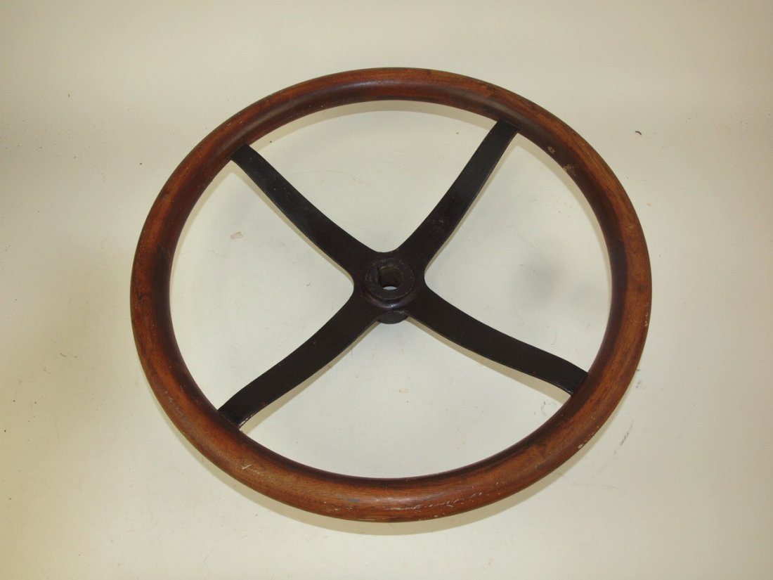 Antique wood steering wheel, 17""