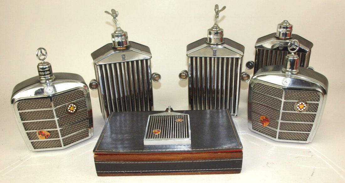 Automobile 1960's musical decanters: 2-Mercedes,