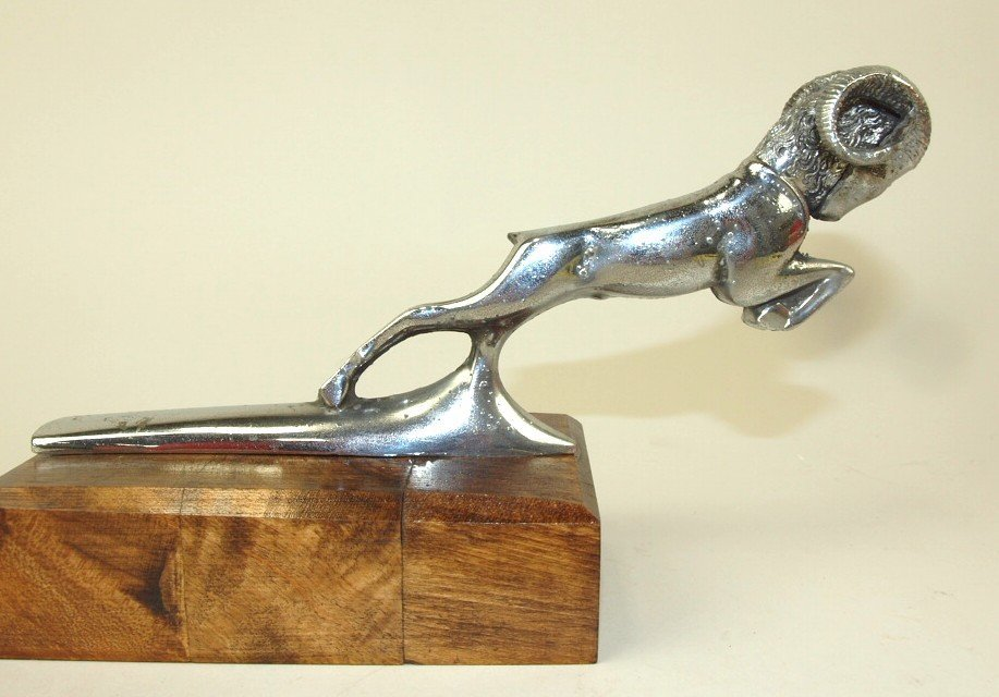 "1936 Dodge Ram hood ornament, 3 1/2"" x 7 1/2"""