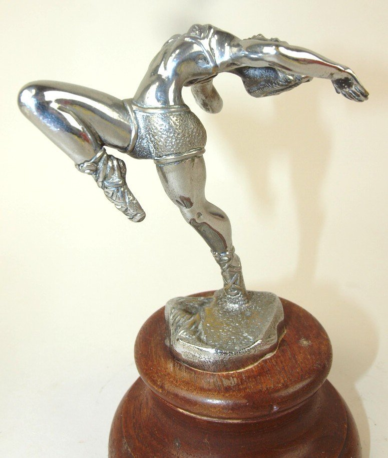 "1930 Desmo ballerina hood ornament, signed, 4 1/2"""