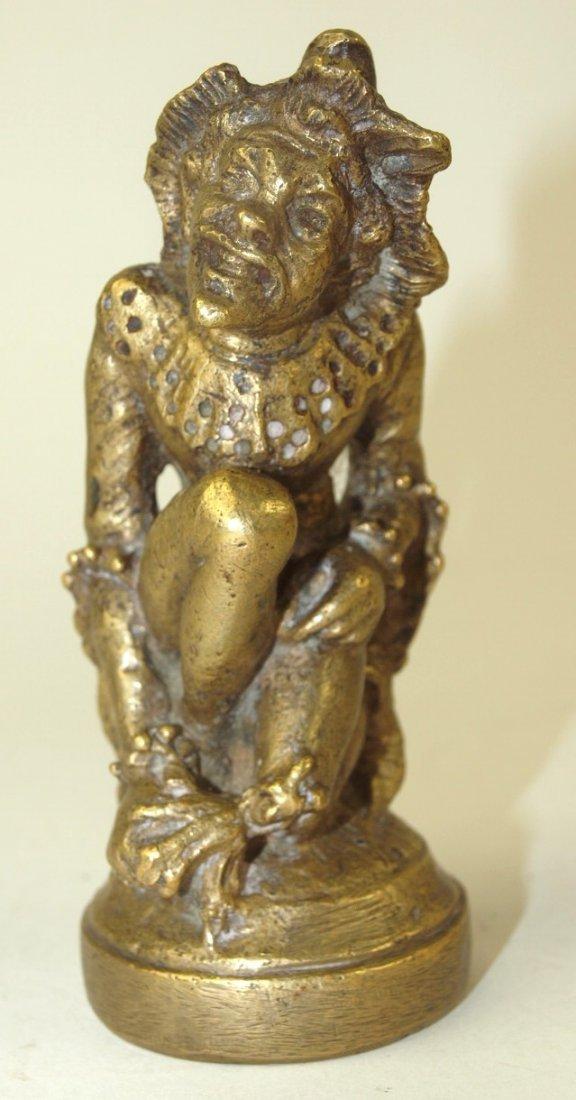"""RARE Chini Bozzi """"Jester"""" brass hood ornament mascot"""
