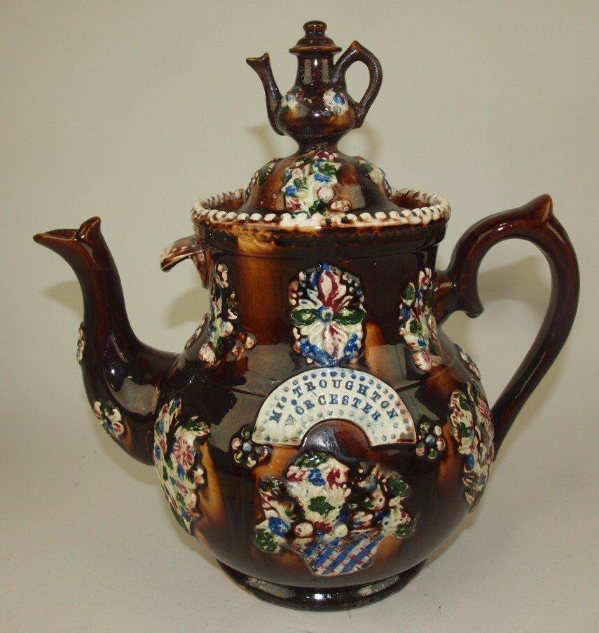 """Measham Bargeware large coffee pot """"Mrs Troughton,"""