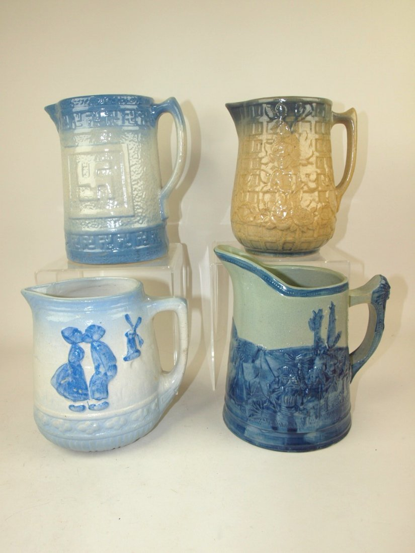 Blue & white stoneware lot of 4 pitchers, includiong