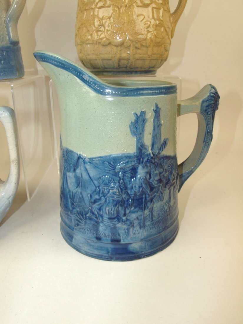 Blue & white stoneware lot of 4 pitchers, includiong - 2