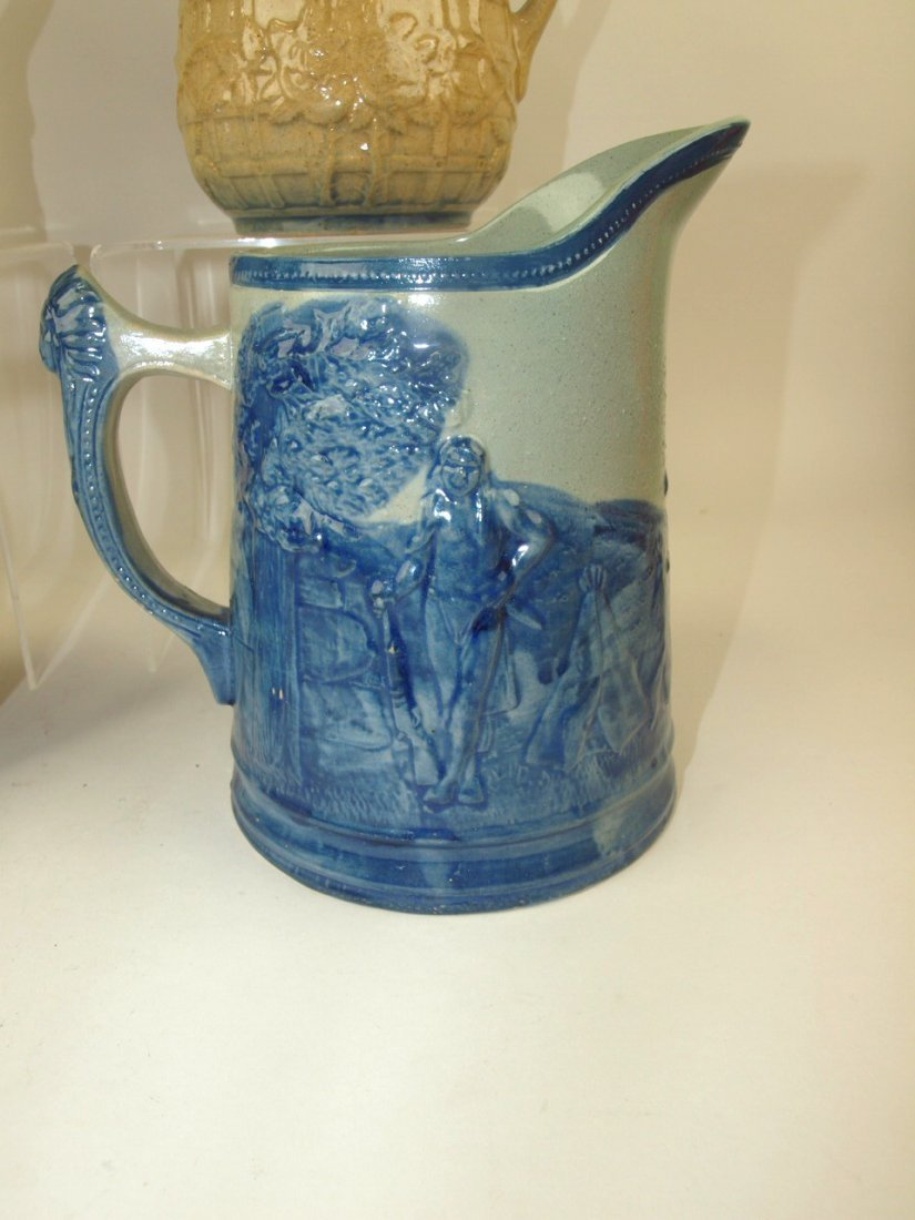 Blue & white stoneware lot of 4 pitchers, includiong - 3
