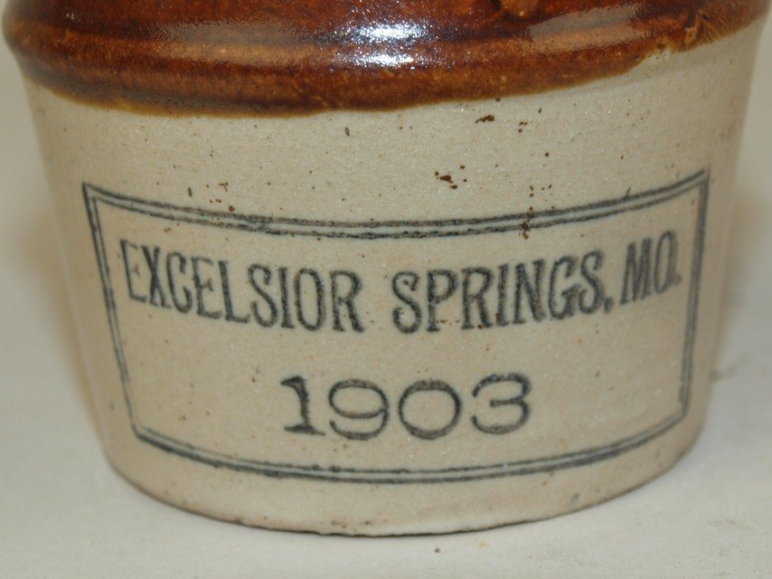 Stoneware miniature brown & white advertising jug - 2