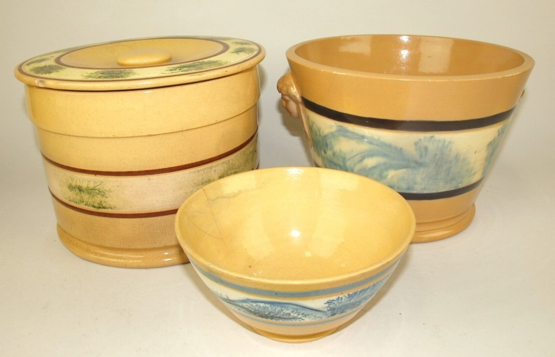 Yellow ware mocha ware lot of 3 pieces: covered jar 6