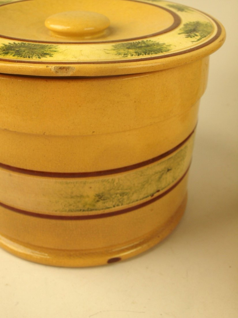 Yellow ware mocha ware lot of 3 pieces: covered jar 6 - 2