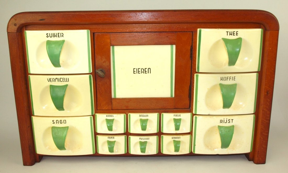 Dutch German wall canister set with ceramic drawer bins