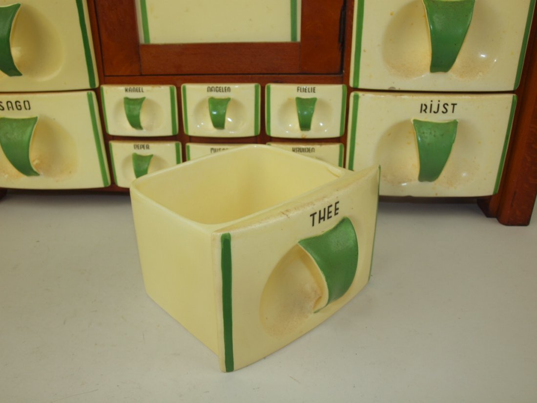 Dutch German wall canister set with ceramic drawer bins - 2