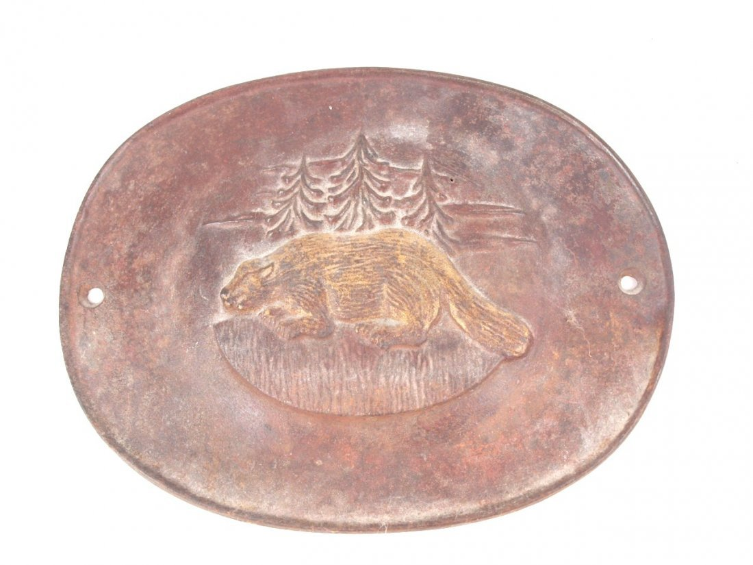 "Cast iron beaver stove plate, 11"" x 9"""