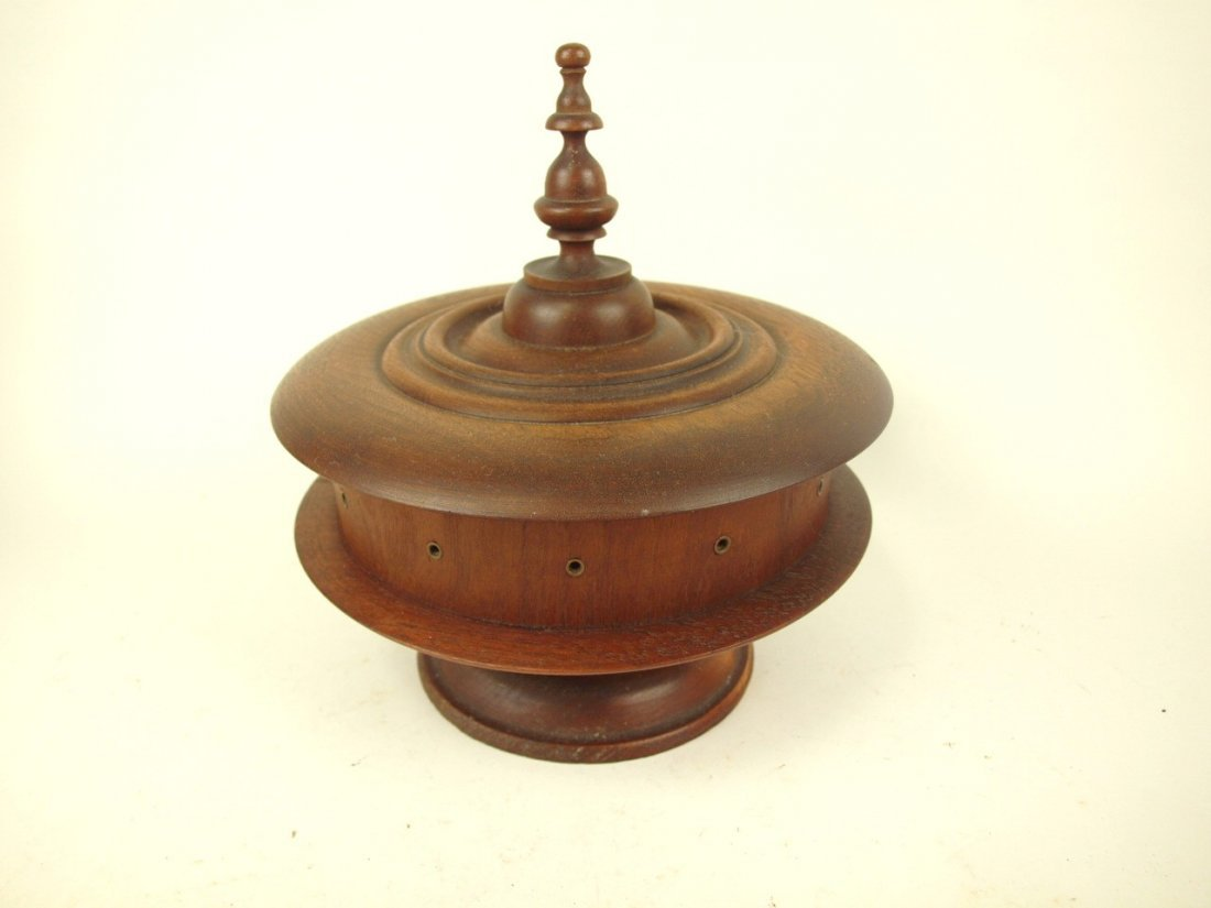 """Wooden treen ware sewing and thread box, 9""""d"""