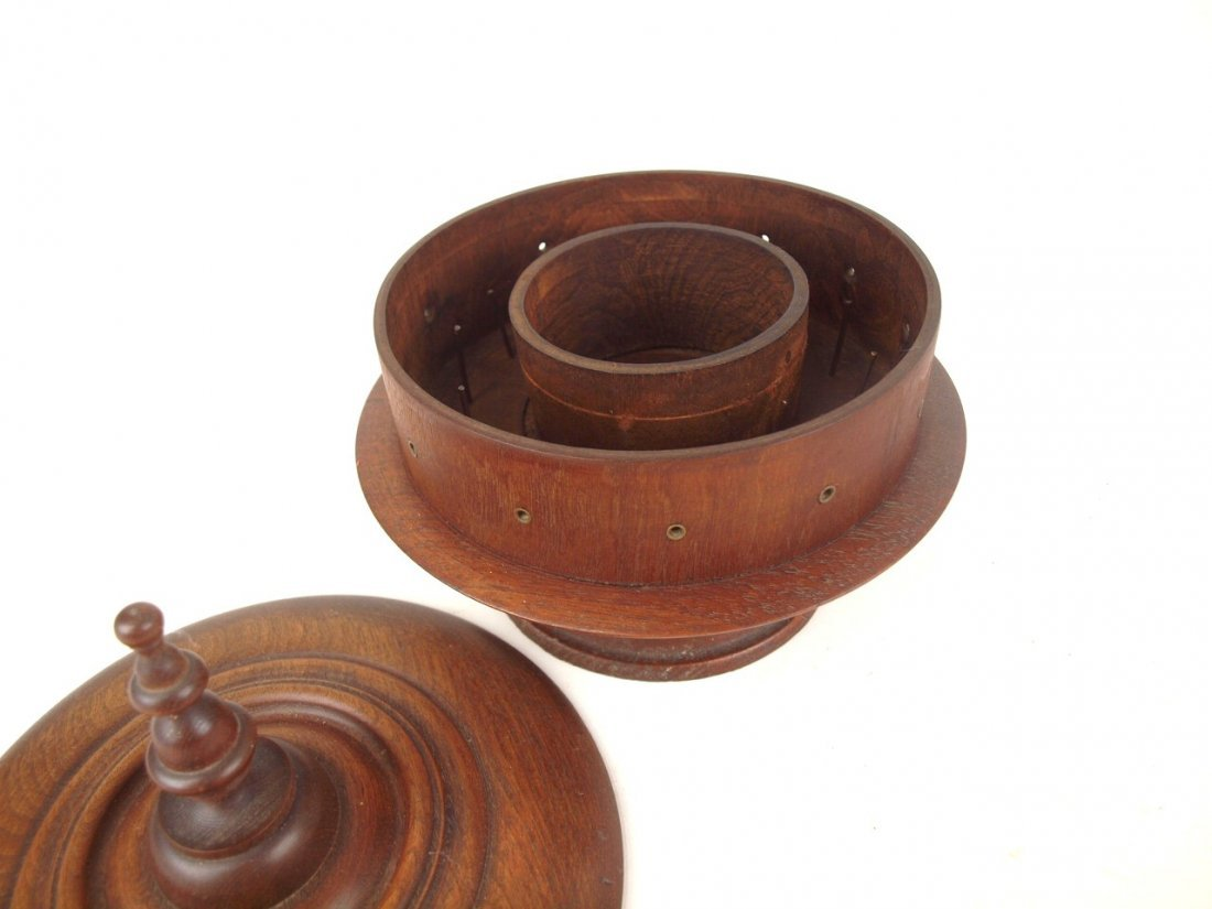 """Wooden treen ware sewing and thread box, 9""""d - 2"""