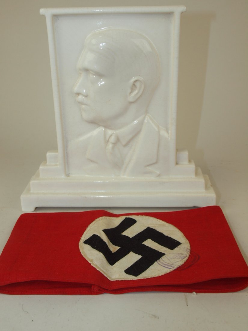 "German Nazi Hitler ceramic plaque (chip to base) 7""h"