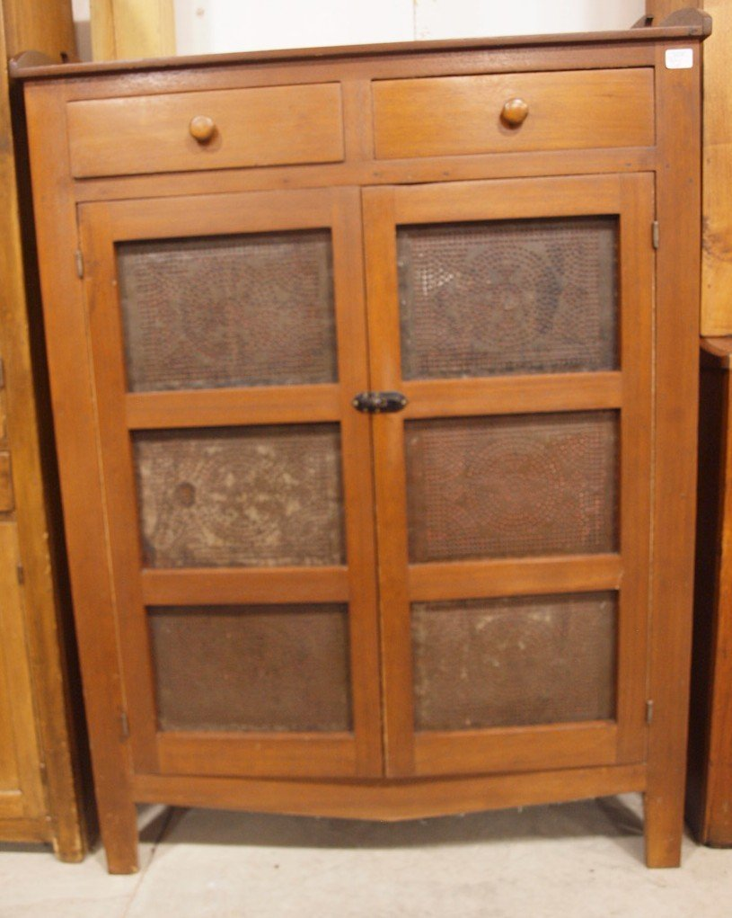 Walnut pie safe with piercede tin doors and wood splash