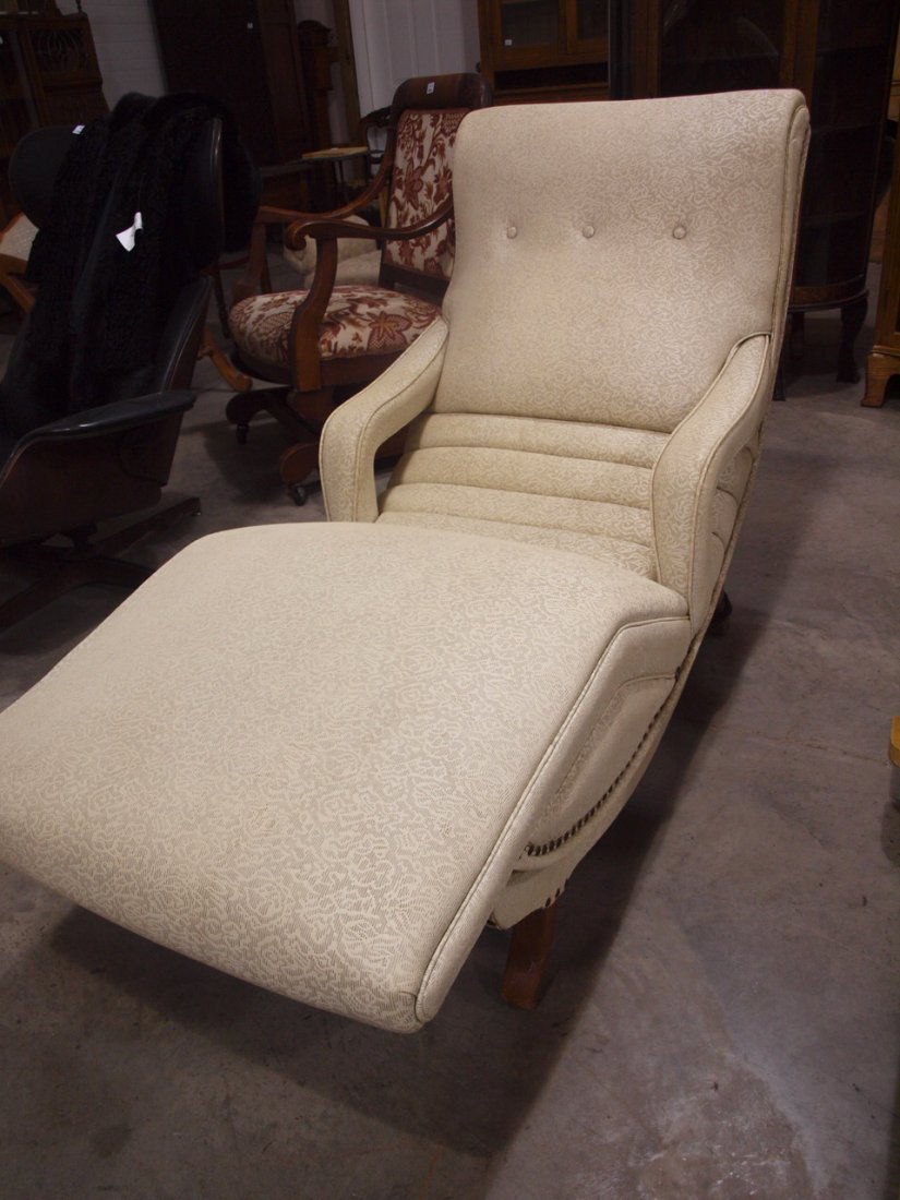 Mid century modern contour lounge massage chair with - 2