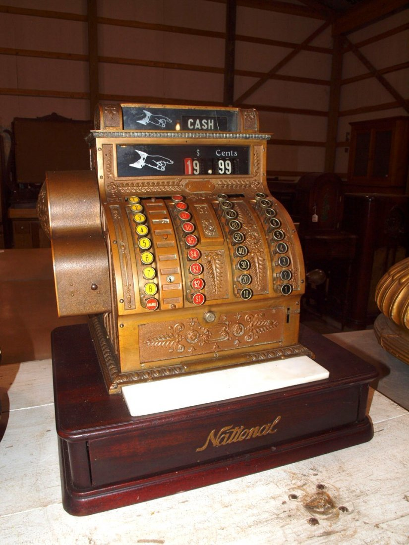 """National Brass cash register #441, 20""""w, 16 1/2""""d,"""