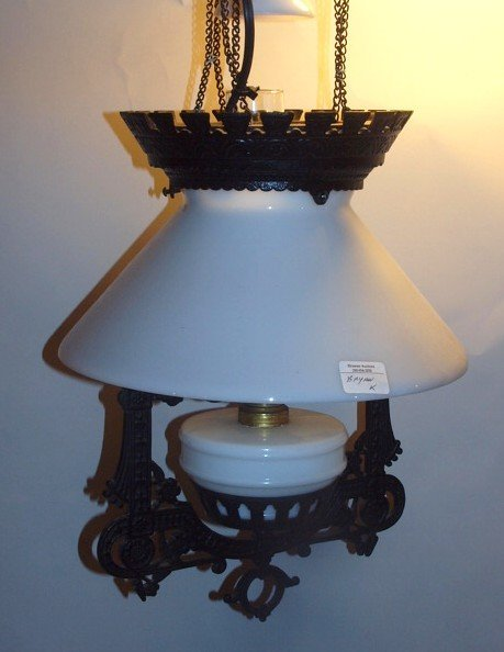 Cast iron pull down hanging kitchen lamp with smoke