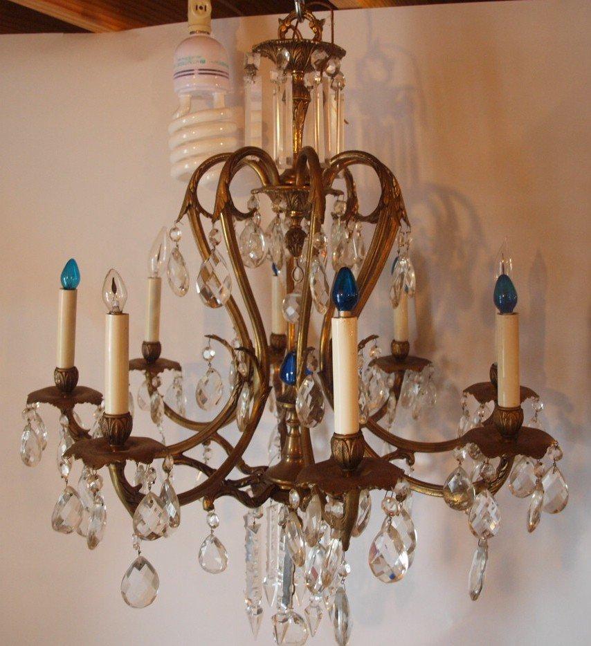 """Crystal chandelier, 8 lite, 26""""d"""