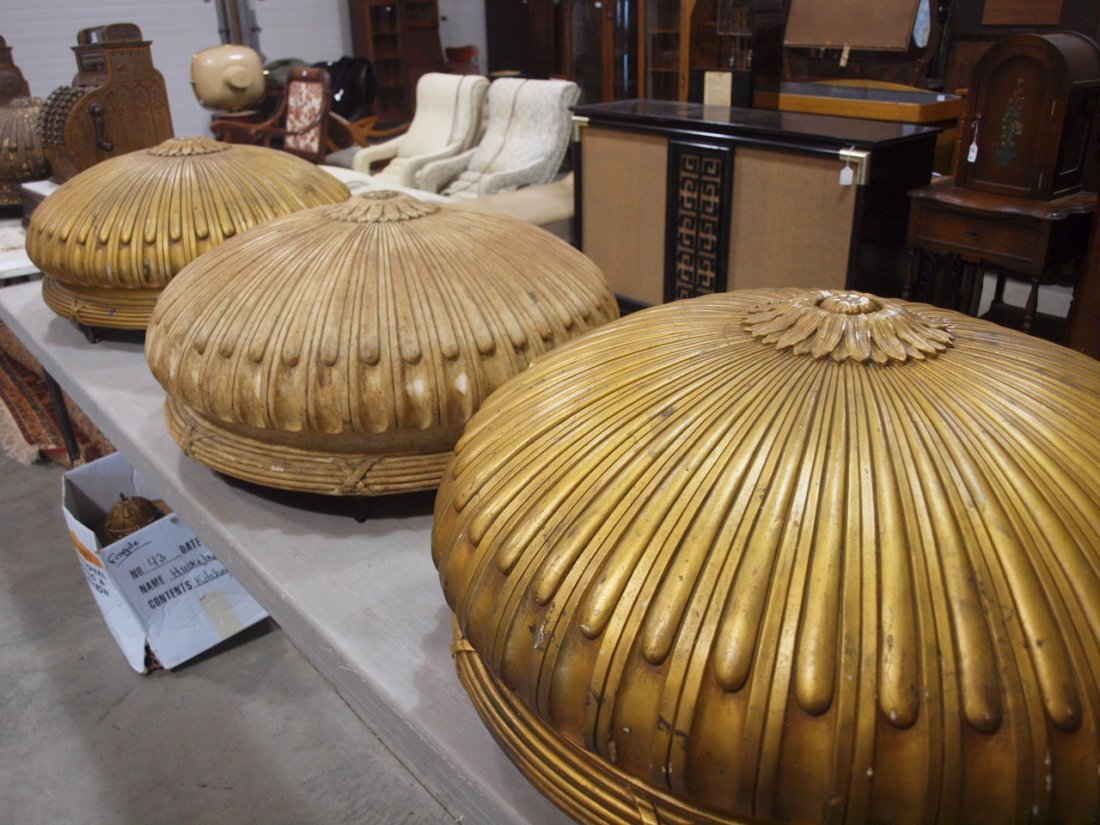 Set of 4 gold gilded ceiling fixtures from old movie