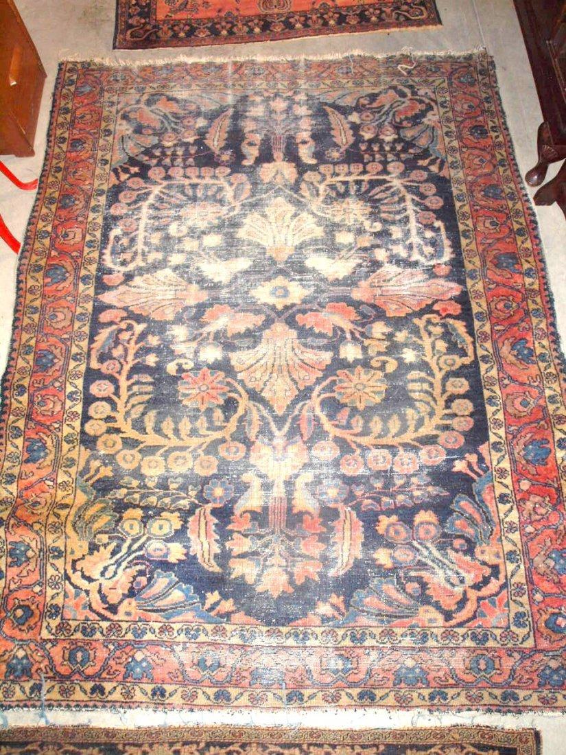 """Hamadan oriental rug, worn, 78"""" x 60"""""""
