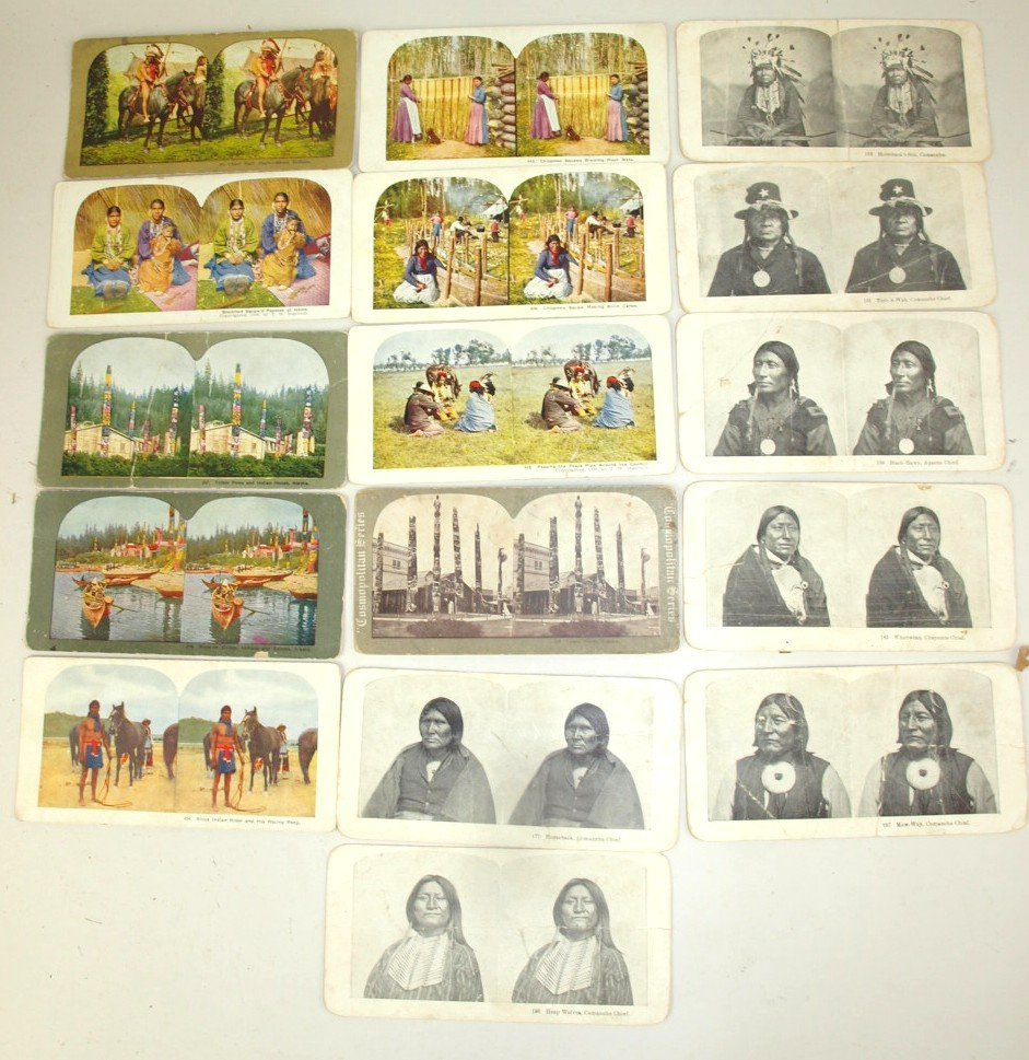 Lot of 16 Native American Indian stereo view cards