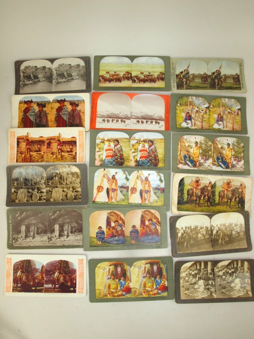 Stereoview cards of American Indians, 53 cards