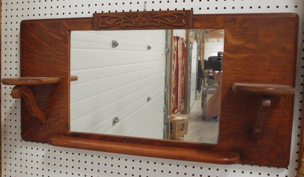"Oak arts and crafts wall mirror wtih shelves, 36"" x 18"""