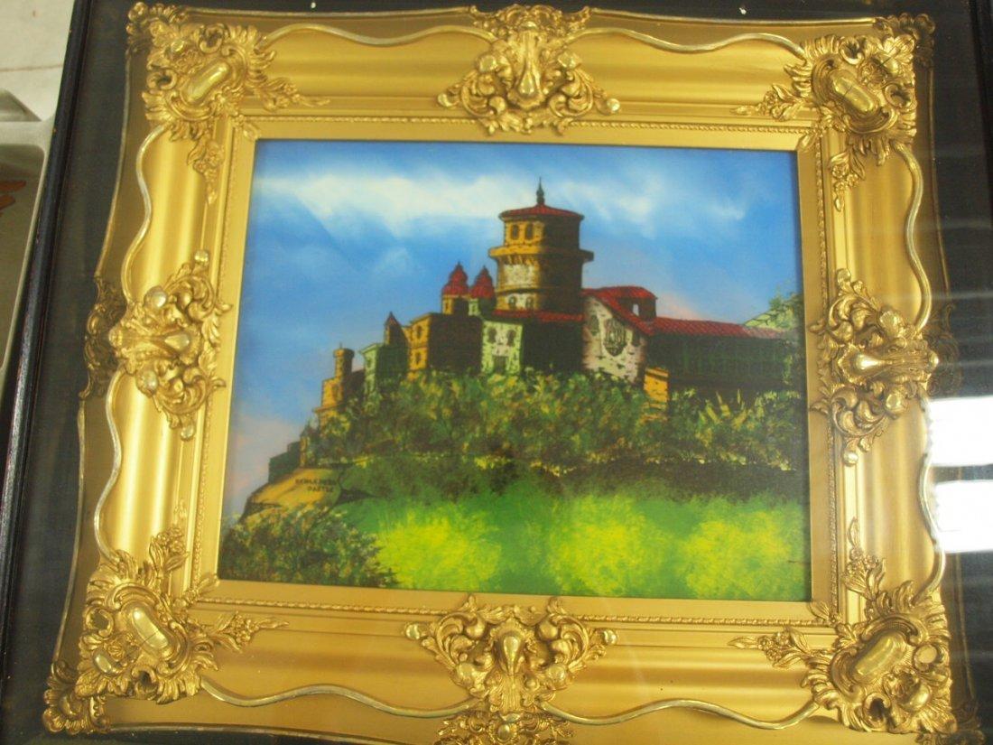 Reverse painting on glass of Heidleberg Castle in gilt