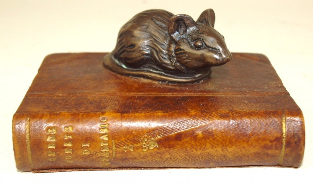 "Bronze figure of mouse on book, 2"" x 3 3/4"""