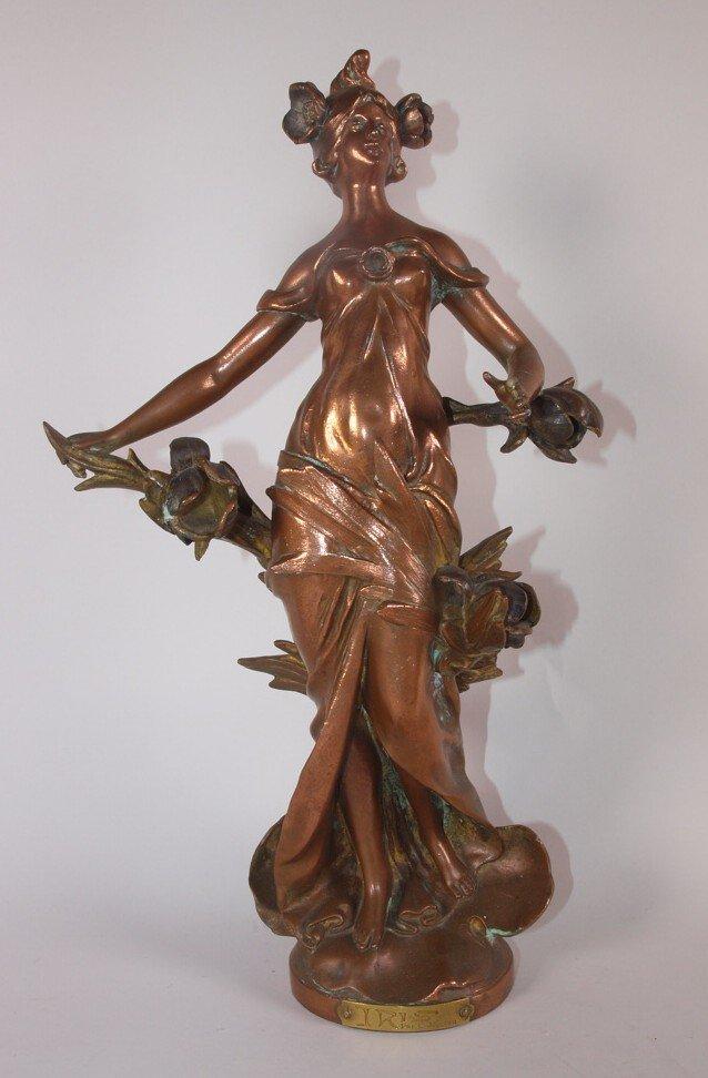 """Bronze figure of lady """"Iris"""" by Par. L. Mureau, loss to"""