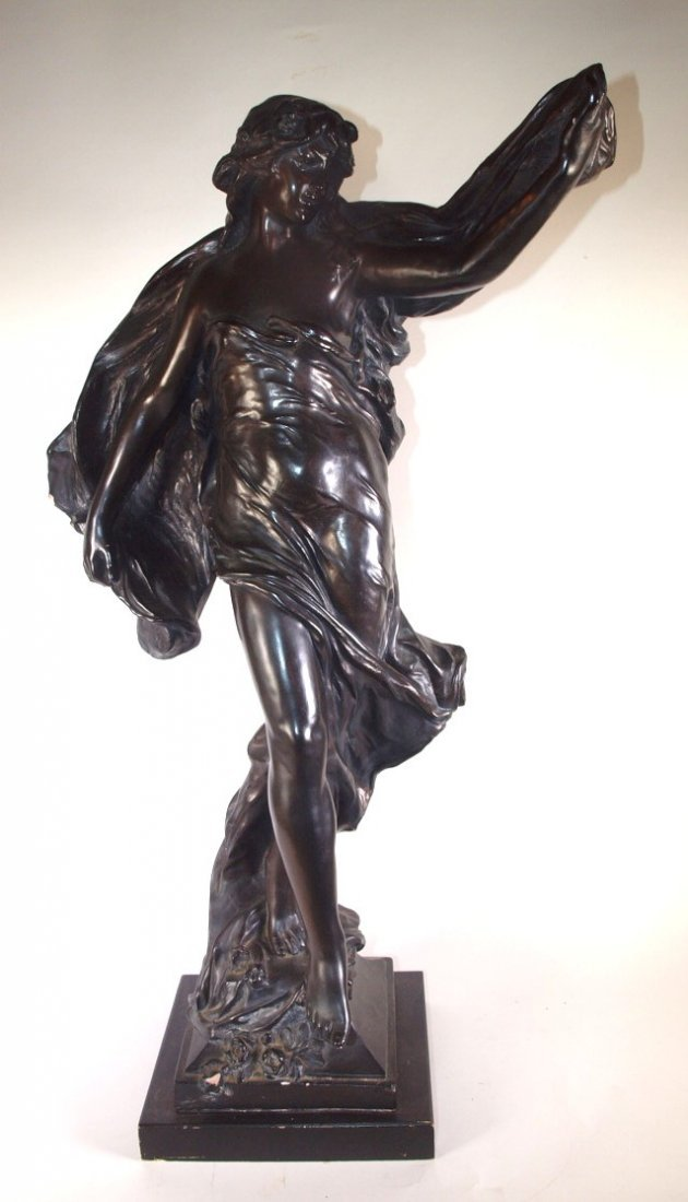 """Chalkware figure of lady signed Marioton, 31"""", nick to"""