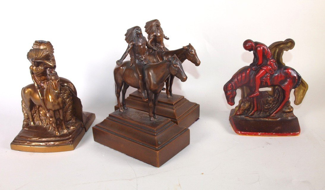 Native American Indian lot of 3 pair bookends